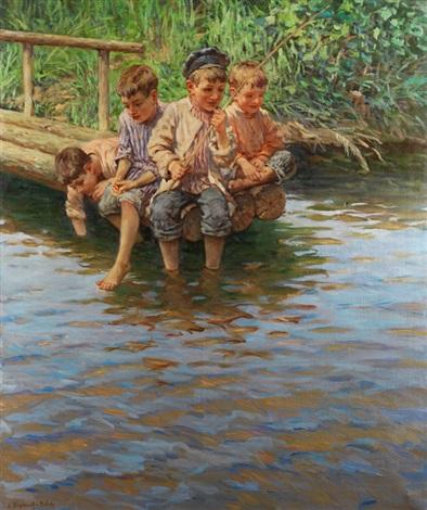 vier knaben am ufersteg beim angeln by nikolai petrovich bogdanov belsky
