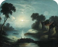 moonlit scene with fishermen fishing from a rowing boat on a river, a mill beyond by abraham pether