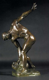 athlet als steinheber by henri léon greber