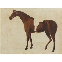 a saddled horse held by a man at the bridle (study) by jacques-laurent agasse