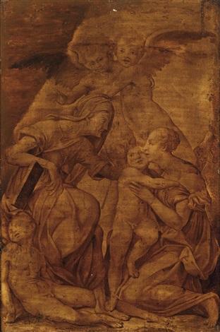 madonna mit kind der heiligen anna dem johannesknaben und zwei engeln madonna con bambino santanna san giovannino e due angeli by rosso fiorentino giovanni battista di jacopo