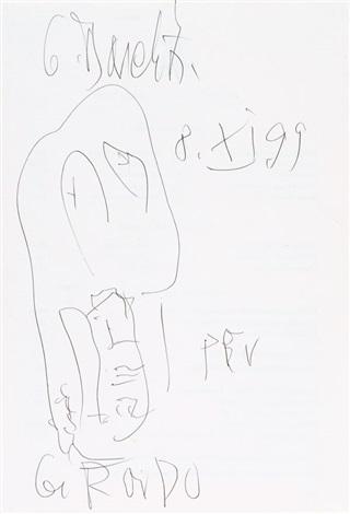 skizze auf menukarte der kronenhalle zürich sketch by georg baselitz