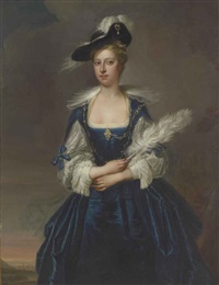 portrait of elizabeth dunch, later lady oxenden, three-quarter-length, wearing a blue dress and black hat and holding a white feather plume by thomas hudson