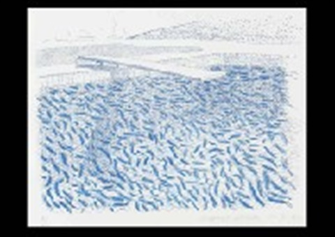 lithographic water made of lines and crayon by david hockney
