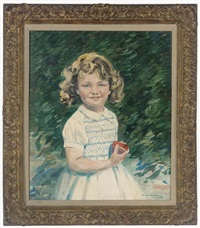 portrait of a yound girl in a white dress, holding a red cup by bernard adams