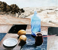 still life with jerusalem backdrop by aryeh azéne