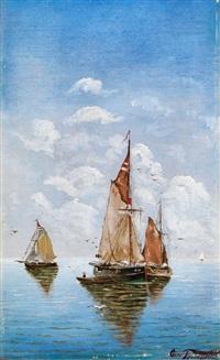 segelschiffe auf ruhiger see unter gebauschten wolken by giovanni tomaselli