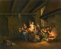 familienszene bei der essenszubereitung by johann eleazar schenau