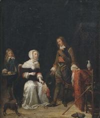 interieur mit einem offizier und einer dame mit einem weinglas by gabriel metsu