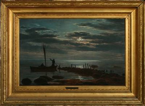 seascape at full moon by anton laurids johannes dorph