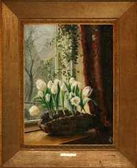 frame with white tulips by alfrida baadsgaard