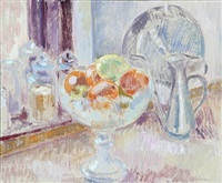 still life with fruits and patent glass by viggo rorup