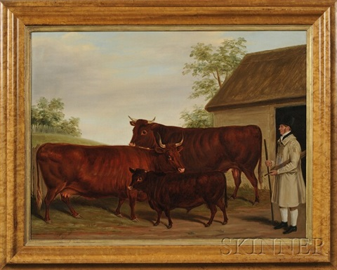 barnyard scene with a gentleman farmer and cattle by james of bath loder