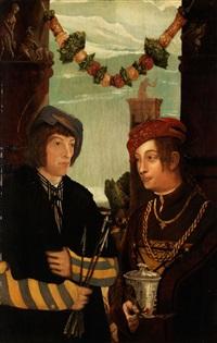 doppelportrait eines ehepaares als heiliger sebastian und heilige barbara by hans wertinger