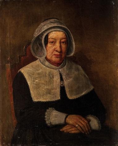 brustbildnis einer auf einem stuhl sitzenden dame by gustave léonhard de jonghe