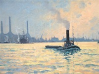 a tug and shipping on the thames at sunset by hugh boycott-brown