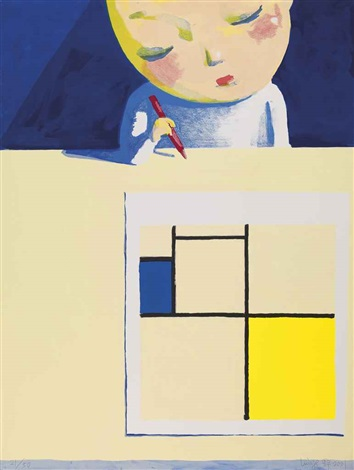 deep in thought facing mondrian by liu ye