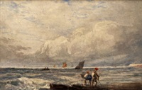 fishermen overlooking the shores, possible hastings by david cox the elder