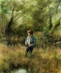 boy by the fishing spot by adolf sehring