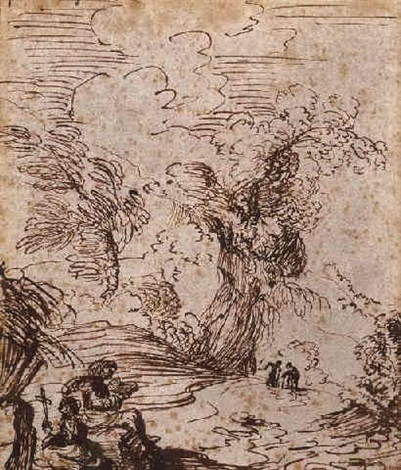 two saints in a landscape one reading a book the other holding a cross by giuseppi maria figatelli