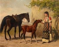 mädchen am stall mit einer stute und fohlen by emil volkers
