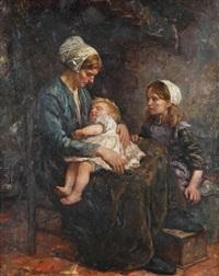 scène domestique avec mère et enfants by cornelis koppenol