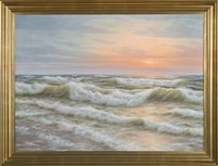coastal scenery by the north sea in the sunset glow by wolmer zier
