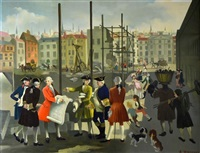 18th century life in london outside the royal society of arts by anna katrina zinkeisen