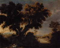a wooded landscape with the parable of the good samaritan by francisco collantes