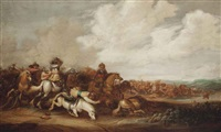 a cavalry skirmish by abraham van der hoef