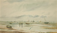 seascape with sailboats at low tide by william lionel wyllie