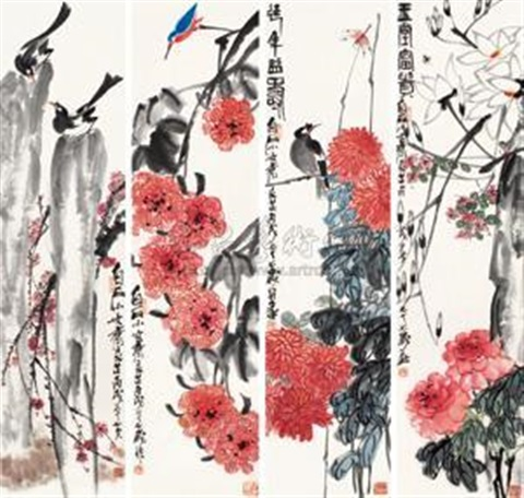 玉堂富贵 (四幅) 4 works by qi liangzhi