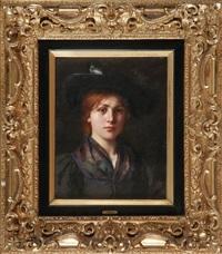 portrait einer jungen frau in tracht by emma (edle von seehof) müller