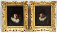 head and shoulder portraits of two gentlemen in 17th century dress (2 works) by lajos koloszvary