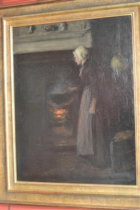 cottage interior with a lady beside a fireplace (peggy valvert?) by mark senior