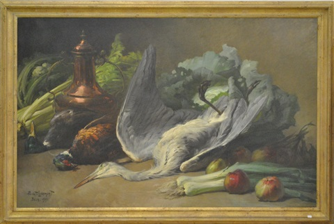 nature morte au héron by henri privat livemont