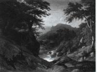 berglandschaft mit wanderndem monch by leonhard rausch