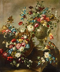 blumenstillleben mit papagei by francesco guardi