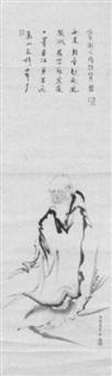 daruma, auf einem schilf stehend und den yangzi überquerend by sasaki senkei