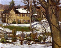 snow scene depicting a house in the woods by john kane