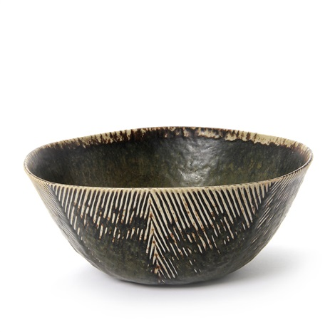 bowl exterior modelled with rifled pattern in relief by axel johann salto