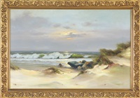 seascape with the sun beginning to set by horst altermann
