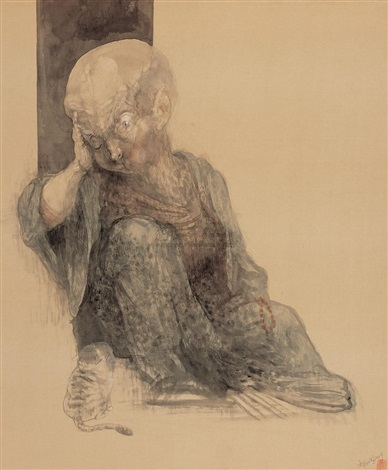 big monk sits in the doorway by qiu jiongjiong
