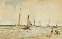 pescadores en la playa by tomas campuzano y aguirre
