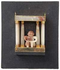 personnage assis entre des colonnes by jose vermeersch
