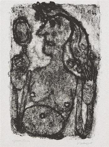 coquette au miroir pl31 from matière et mémoire ou les lithographes à lécole by jean dubuffet
