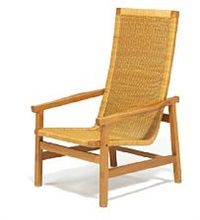 high-back oak easy chair by johan hagen