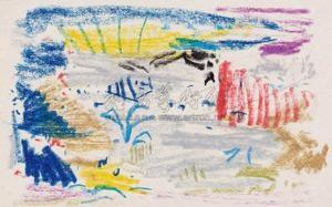 无题ii 661 油性蜡笔·纸 untitled ii 661 by wu dayu