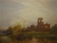 view of kirkstall abbey with figures in a boat in the foreground by hubert herbert coutts