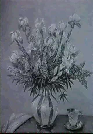 blumenstilleben mit tasse iris und lupinien in vase by a f karstensen